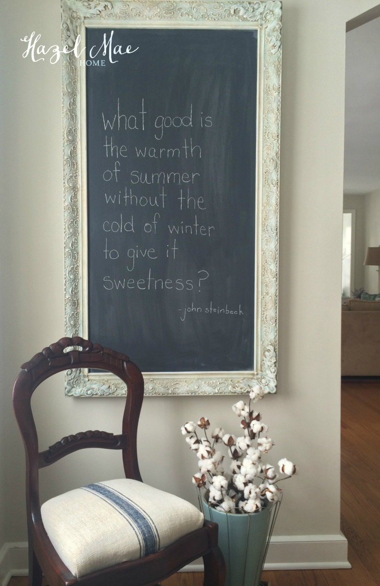 Large Vintage Frame Turned Chalkboard