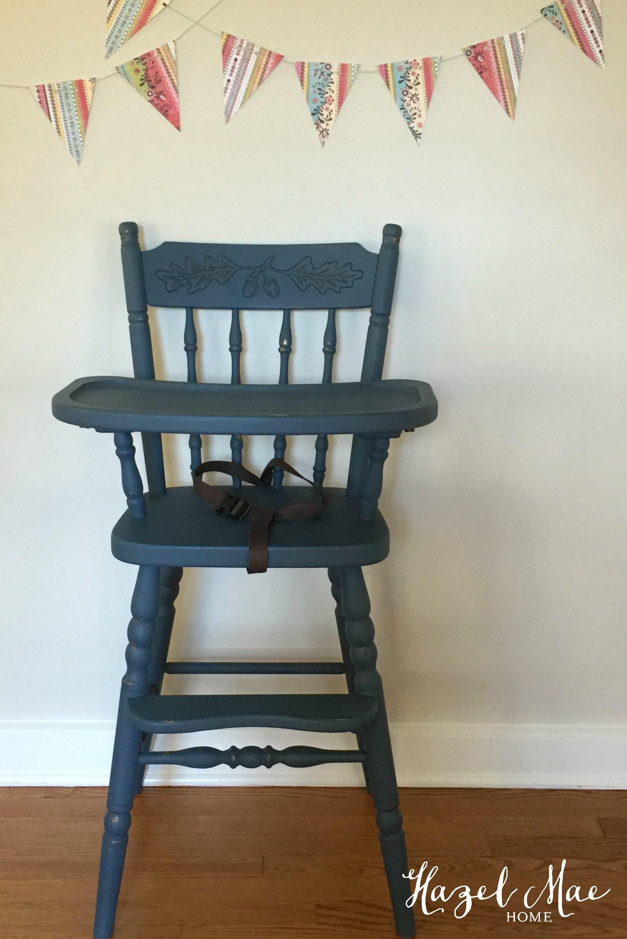 Vintage wooden high chair - Bluehighchair1